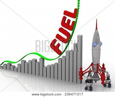 The Graph Of Fuel Price Growth. Graph Of Rapid Growth With Red Word Fuel And Rocket. 3d Illustration