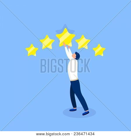 Rating Design Concept. Man Giving Five Star Rating. Trendy Flat Style. Vector Illustration.