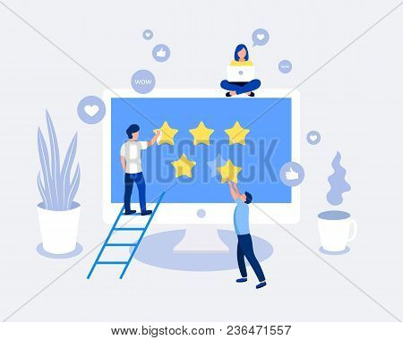 Rating, Feedback, Comments Design Concept. Man Giving Five Star Rating. Laptop Screen With Stars. Tr