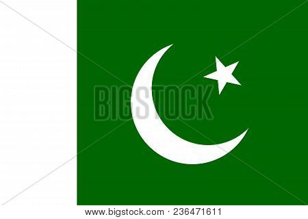 Flag Of Pakistan With Correct Geometrical Proportions, Specifications And Colors. Islamic Republic O