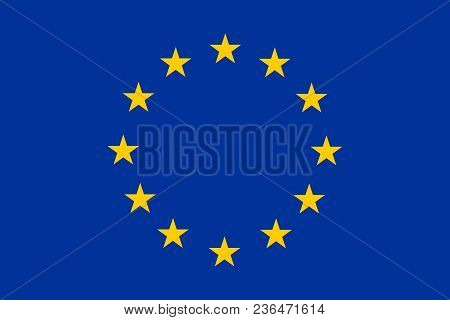 Flag Of Europe With Correct Geometric Proportions, Specifications And Color. European Union And Coun