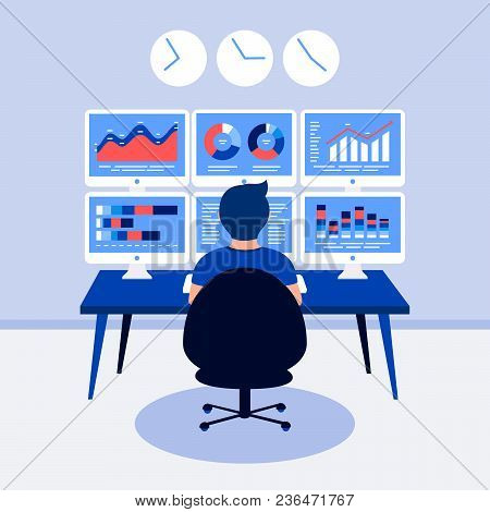 Data Analysis Design Concept. Analyst, Trader Working. Man, 6 Laptop Screen With Data Analysis Graph
