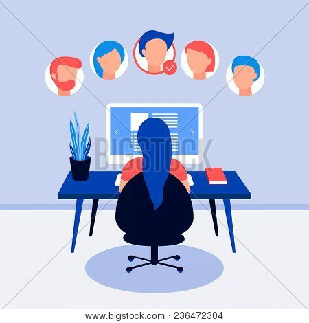 Resume On Laptop Screen. Hr Working, Back View. Selecting Staff. Searching Professional Staff. Analy