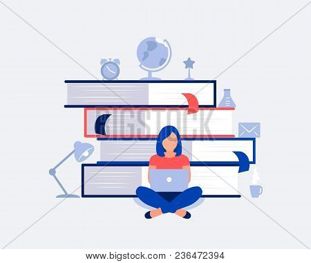E-learning, Online Education Design Concept. Student Girl With Laptop Sitting At A Pile Of Books. On
