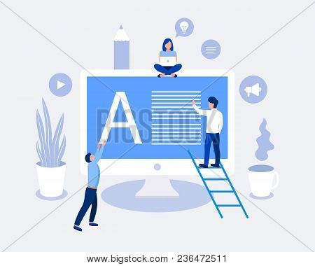 Blogging Design Concept. Small People Write The Text, Make Blog Content. Trendy Flat Design. Vector