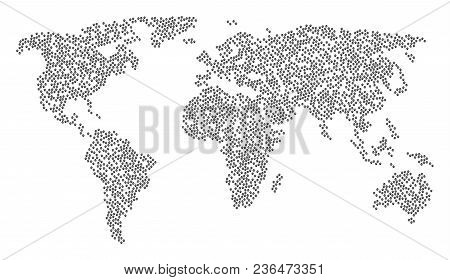 International Pattern Map Composed Of Paw Footprints Elements. Vector Paw Footprints Scatter Flat Pi