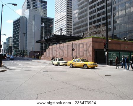 Streetcorner Intersection Of Jackson And Franklin With The Sears Tower (now Willis Tower) Skydeck En