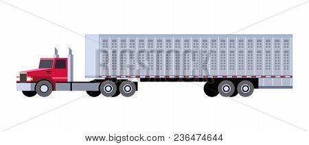 Minimalistic Icon Cattle Truck Front Side View. Semi Trailer Vehicle. Vector Isolated Illustration.