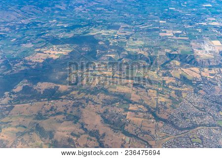Aerial View On Farmland With Fields And Pastures. South Australia