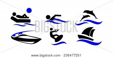 Sport. Water Sports. Active Holiday By The Sea. The Icons Set. Vector Illustration Isolated On White