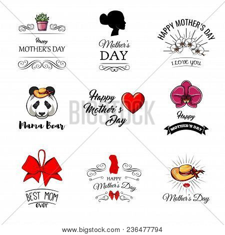 Mothers Day Set. Mama Bear, Heart, Flowers, Bow. I Love You Greeting Cards, Posters. Decorative Desi