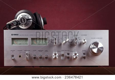 Vintage Stereo Amplifier Frontal Panel with VU meters