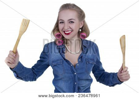 Girl In Pin-up Style With Cooking Facilities