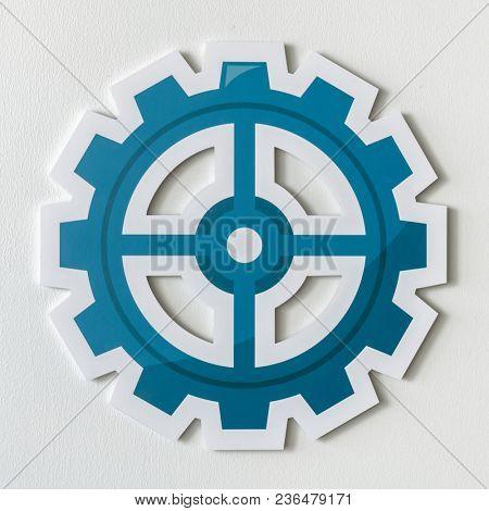 Paper craft of cog wheel icon