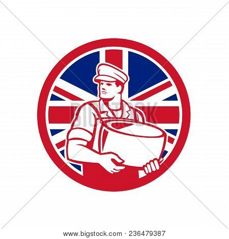 Icon Retro Style Illustration Of A British Artisan Cheesemaker Or Cheese Maker Holding Parmesan Chee