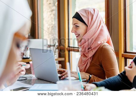 Islamic women studying together