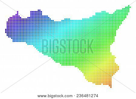 Spectrum Dotted Pixel Sicilia Map. Vector Geographic Map In Bright Colors On A White Background. Spe