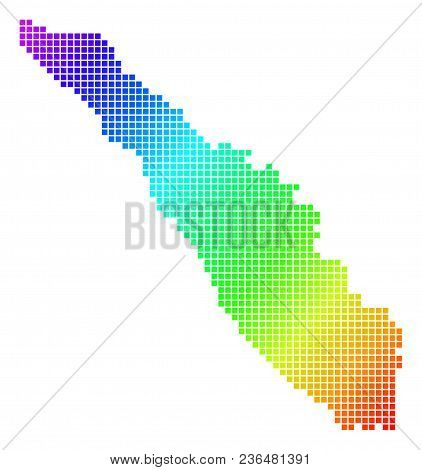 Spectrum Dotted Pixelated Sumatra Island Map. Vector Geographic Map In Bright Colors On A White Back