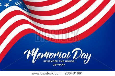 Memorial Day. Usa Memorial Day Banner With Lettering And Waving Flag Of Usa.