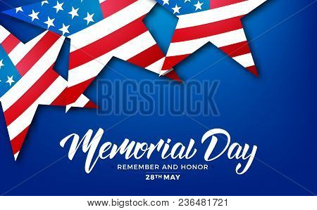Memorial Day. Usa Memorial Day Card With Lettering And Stars Of Usa Flag.