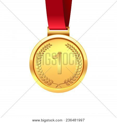 Medal Of The Winner. Gold Medal With Red Ribbon Isolated On White Background. Vector Illustration.