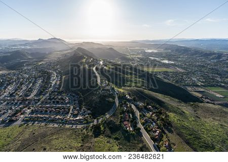 Aerial view of Wildwood neighborhood in Thousand Oaks and Santa Rosa Valley in Camarillo, California.