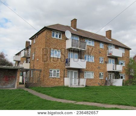 LONDON/ UK- APRIL 16th 2018: Council housing on the Marks gate estate, were built by dagenham council in the 1950s in the east of London.