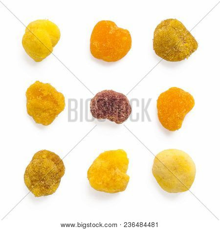 Extreme Close Up Bee Pollen In Creative Layout Pattern Of Square Form. Bee Pollen On White Backgroun