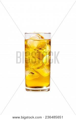 Single-color Transparent Cocktail, Yellow Refreshing Carbonated In A High Glass With Ice Cubes With