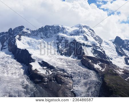 Monte Rosa Massif Scenery, Landscapes Of Alpine Mountains Range In Swiss Alps At Switzerland, From G
