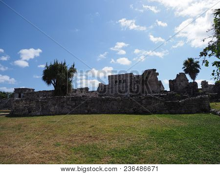 Ancient Ruins Of Stony Historical Building At Tulum Mayan City In Mexico, Large Archaeological Sites