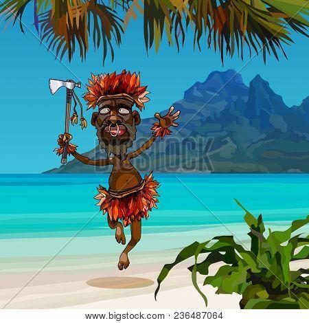 Cartoon Aboriginal Man Dances In National Costume On The Seashore