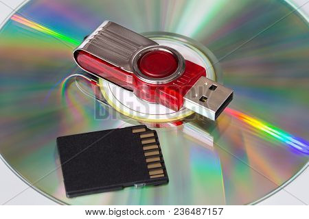 Cd, Flash Drive And Sd Card. A Variety Of Electronic Media.
