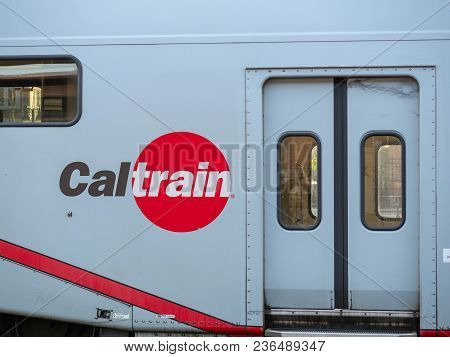 San Jose, Ca - April 14, 2018: Caltrain Logo On Display On Side Of Train Next To Passenger Door