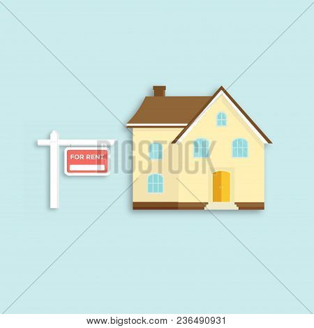 Banner For Sales, Advertising House, Cottage. Offer Of Home Purchase. Rental Of Real Estate. Vector