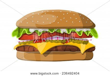 Tasty Burger Isolated On White. Burger With Onion, Salted Cucumber, Salad, Tomatoes, Cheese, Sauce,
