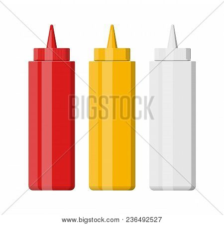 Set Of Blank Plastic Bottles For Fast Food. Mayonnais, Mustard, Ketchup. White, Red, Wellow Containe