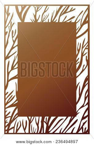 Vector Laser Cut Panel. Abstract Pattern Template For Decorative Frame. Template For Interior Design