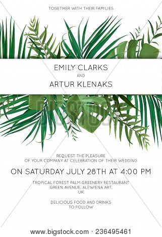 Wedding Floral Invitation, Invite Card With Hand Drawn Watercolor Style Palm Tree Green Leaves, Trop
