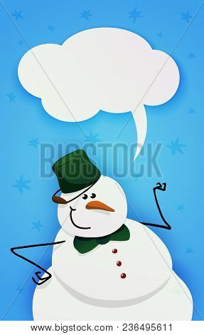 Cute Intelligent Snowman With Green Bucket On His Head And Green Bow Tie. Blank Text Bubble. Vector