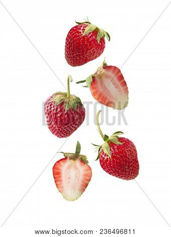 Isolated Strawberry. Set Of Strawberries Isolated On White Cut Out. Collage Of Strawberries. Sliced