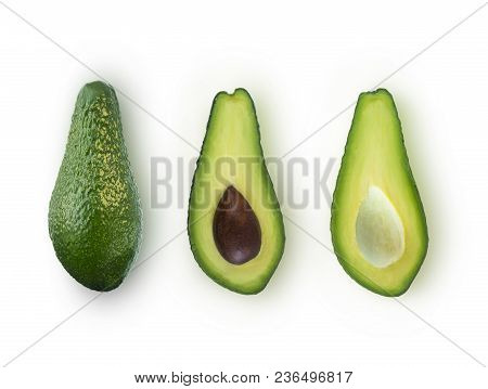 Sliced Avocado Isolated. Isolated Avocado. Cut Avocado Fruit Isolated On White Background. Avocado W
