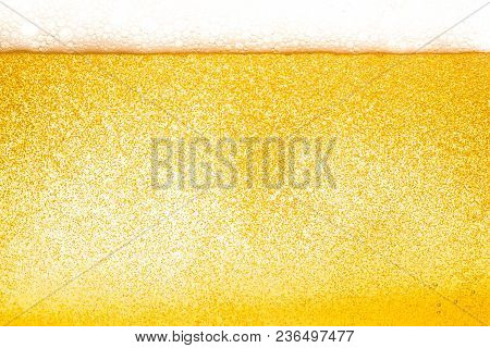 Abstract  Gold Color Beer Drink Background, With White Foaming Buble Texture, Alcohol Drink, Pub And