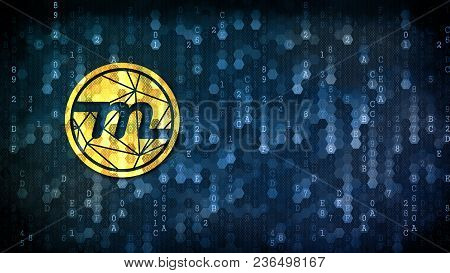 Myriad Cryptographic Currency. Yellow Sign On Digital Background With Blank Copyspace For Card.