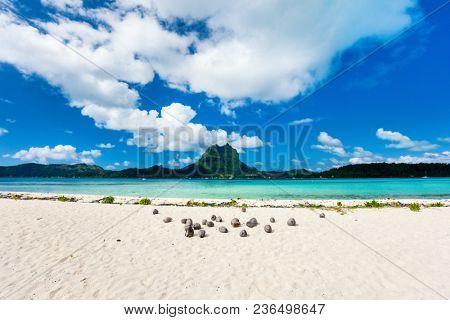 Beautiful beach with a view of Otemanu mountain on Bora Bora island