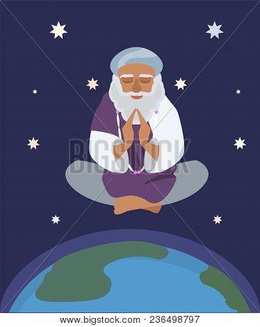 Oriental Sage At Nirvana State,  Vector Cartoon Illustration In Flat Style