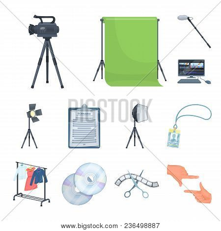 Making A Movie Cartoon Icons In Set Collection For Design. Attributes And Equipment Vector Symbol St