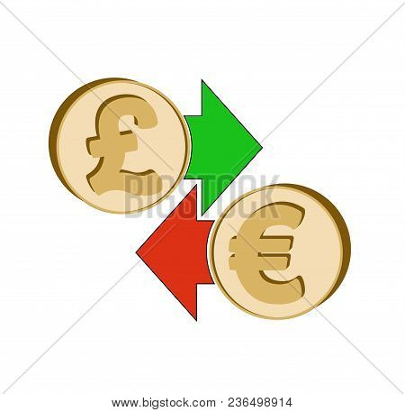 Exchange British Pound To Euro , Design Concept ,  Coins British Pound And Euro With Green And Red A