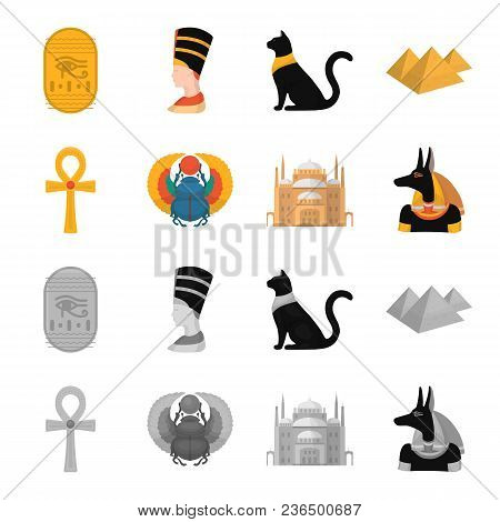Anubis, Ankh, Cairo Citadel, Egyptian Beetle.ancient Egypt Set Collection Icons In Cartoon, Monochro