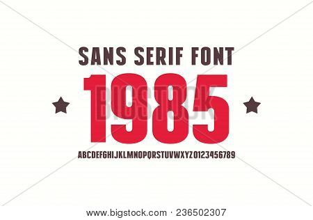 Sans Serif Font. Bold Face. Letters And Numbers For Logo And Emblem Design. Color Print On White Bac